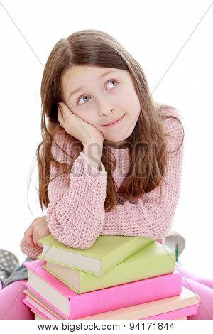 Portrait of beautiful girls 7-8 years