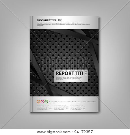 Brochures Book Or Flyer With Dark Metal Dynamic Background
