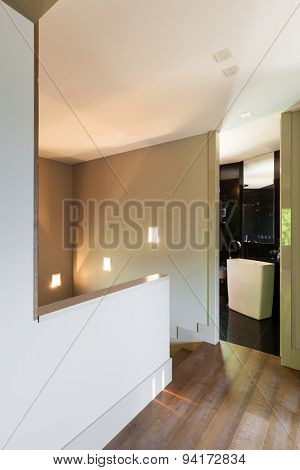 Architecture, empty modern house, passage with bathroom view