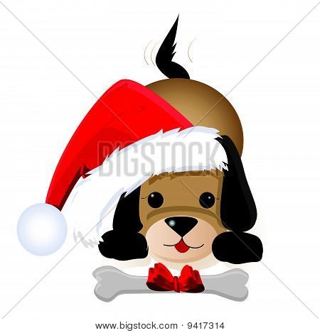 Christmas dog in the hat