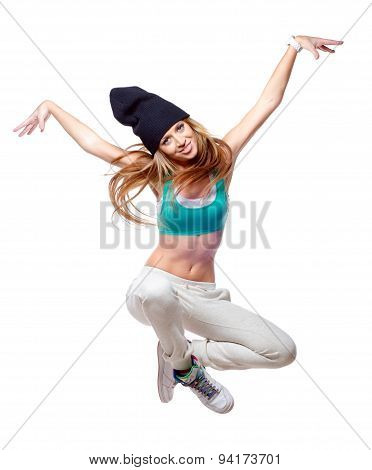Hip Hop Dancer Jumping High In The Air Isolated On White Background