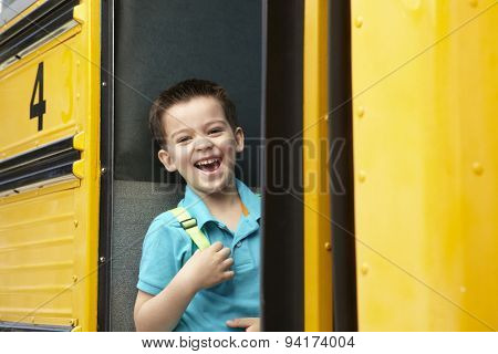 Elementary School Pupil Boarding Bus