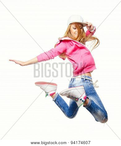 Hip Hop Dancer Jumping High In The Air