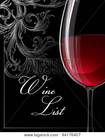 Template for wine list. Vector illustration