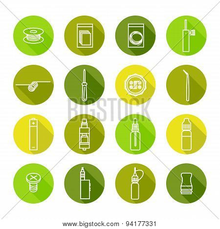 Vector Icons Set Of Vaporizer And Accessories
