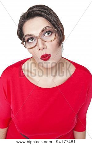 Thoughtful Plus Size Woman In Glasses Looking On Something Up