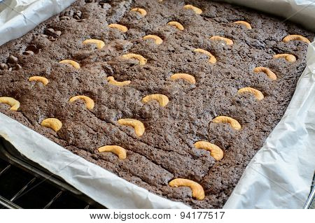 Brownie With Cashew Nut Before Baking