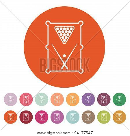 The Billiard Table Icon. Game Symbol. Flat