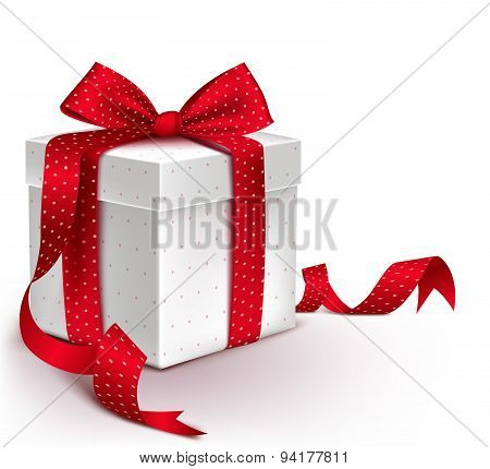 Realistic 3D Colorful Red Gift Box with Pattern and Satin Ribbon