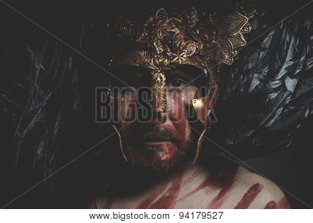 Viking, magician fighter with shield and helmet of gold and geometric shapes, fantasy