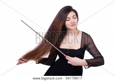 Woman performer playing violin on white