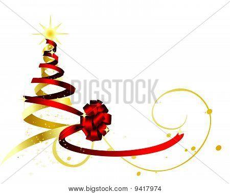 rot und Golden ribbon Form wickeln und bilden einen Weihnachtsbaum.