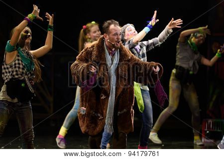 ST. PETERSBURG, RUSSIA - JUNE 19, 2015: Timur Rodriguez performs in a scene from a children's charity project titled Mowgli Generation. The performance is part of the SPIEF 2015