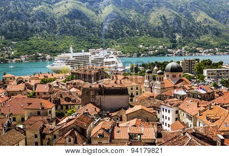 View Of Navy Pier With The Cruise Ship And The Rooftops Of The Old Town Of Kotor