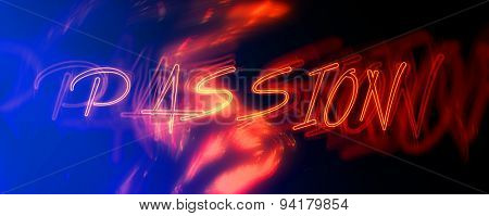 Panoramic View of Red Neon Passion Sign, Concept Image with Flames Illustrating Desire