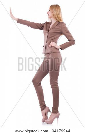 Young businesswman pushing isolated on white