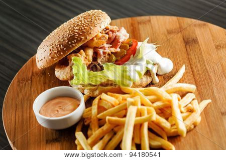 burger with french fries