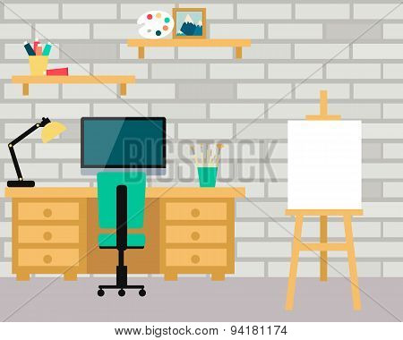 Workplace artist. Interior room with computer and art board. Vector illustration