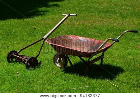 Antique push mower