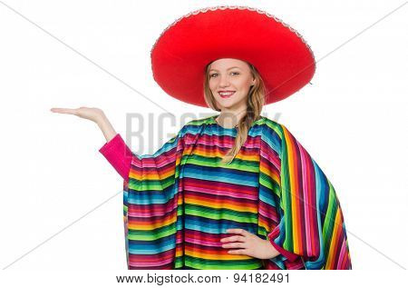Pretty girl in mexican poncho isolated on white