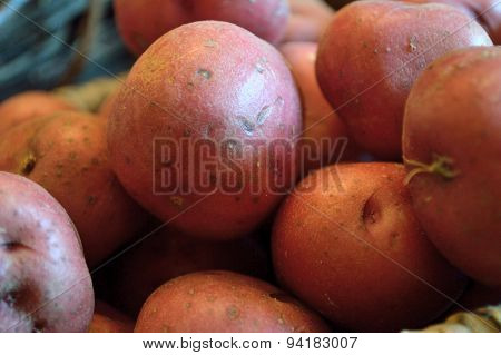 Red New Potatoes In A Basket, Extreme Closeup