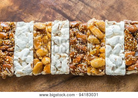 Turron Slices On The Wooden Board