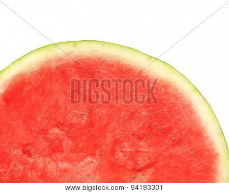 Texture of ripe watermelon seedless. Isolated on white background