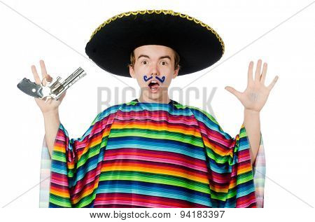Funny young mexican with gun isolated on white