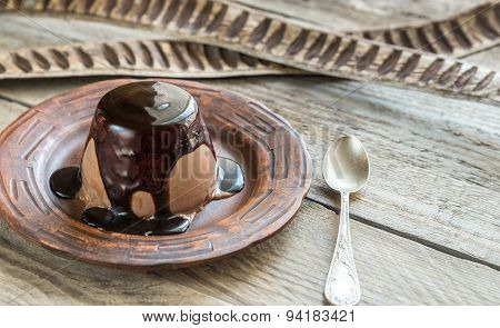 Coffee Panna Cotta Under Chocolate Topping