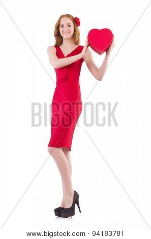 Pretty young girl holding gift box isolated on white