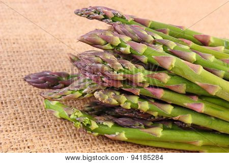 Green Asparagus On Burlap Bag, Healthy Eating