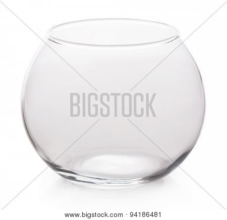 Glass container round shape isolated on white background.
