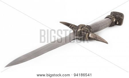 Ancient  dagger isolated on white background.