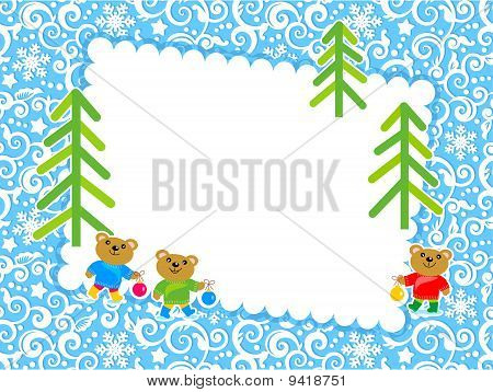 Christmas card or invitation with blank letter
