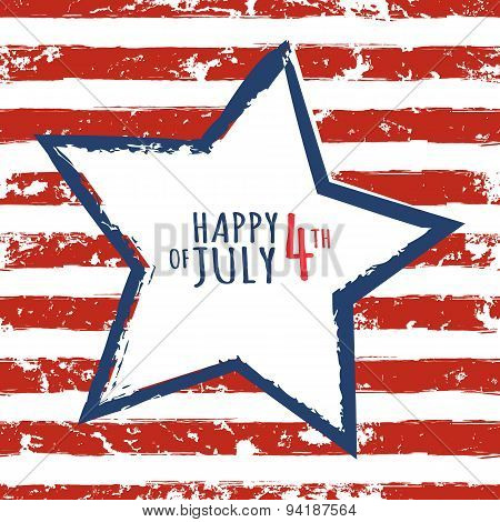 Happy 4Th Of July, Usa Independence Day. Watercolor Blue Star On Seamless Grunge Stripe Vector Backg