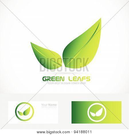 Green leafs bio ecological vegan logo