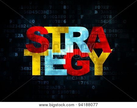 Finance concept: Strategy on Digital background