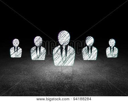 Business concept: business man icon in grunge dark room