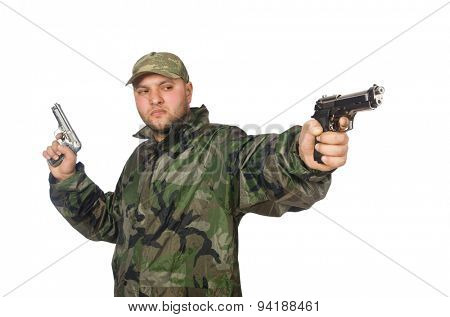 Solider holding gun isolated on white