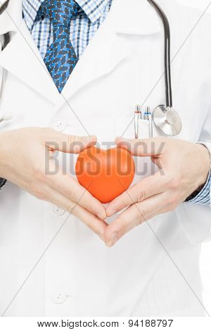 Doctor Holding Toy Heart With Two Hands - Health Care Concept