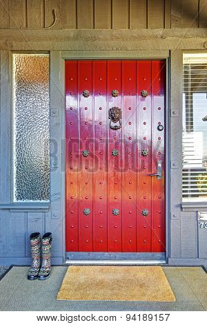 Beautiful Red Door And Christmas Decor With Grey Wood House.