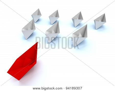 Leadership Concept. Paper Boats