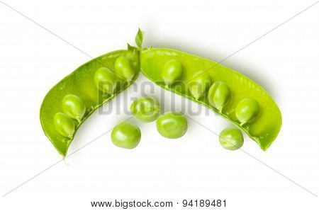 Opened Green Pea Pod And Several Peas