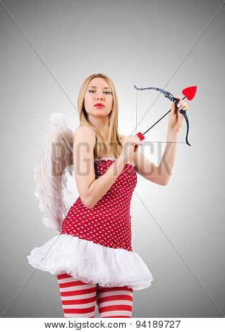 Woman with bow in valentine concept