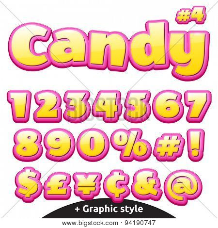 Funny children's candy letters. Numbers, currency signs and special symbols.