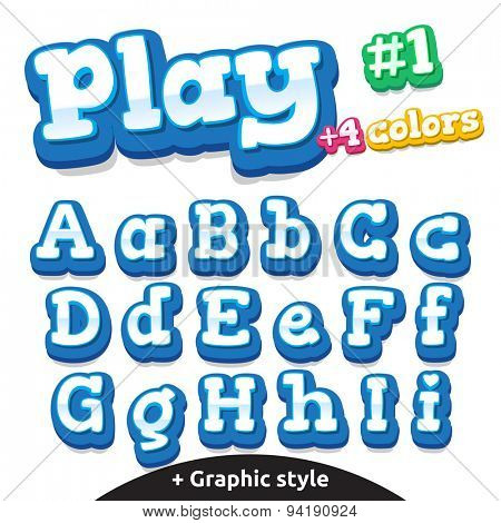Children video game letters. Vector cute alphabet for children in cartoon style