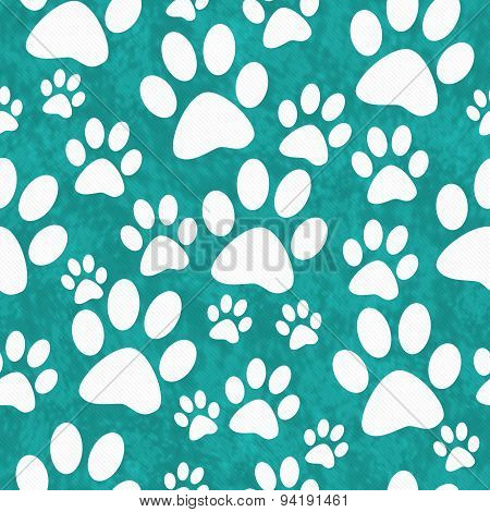 Teal And White Dog Paw Prints Tile Pattern Repeat Background