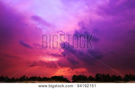Sunset With Red Clouds In The Sun