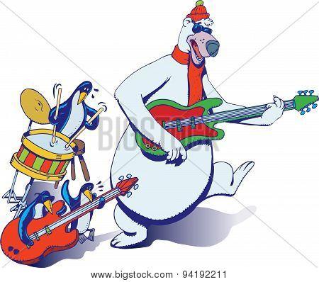 Bear and penguin rock band