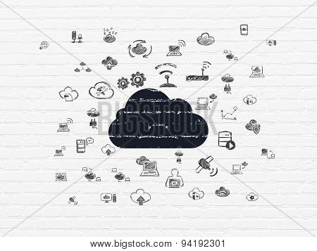 Cloud technology concept: Cloud on wall background